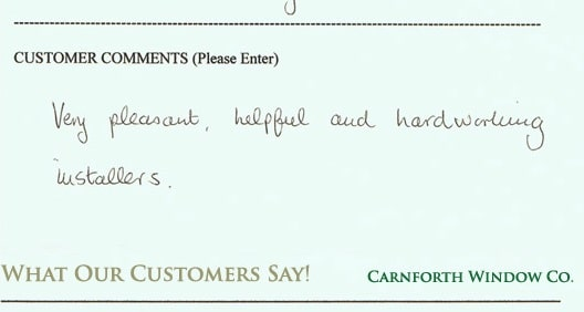 Carnforth Windows Testimonial 3