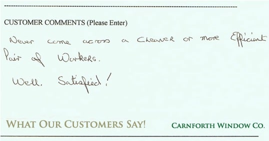Carnforth Windows testimonial